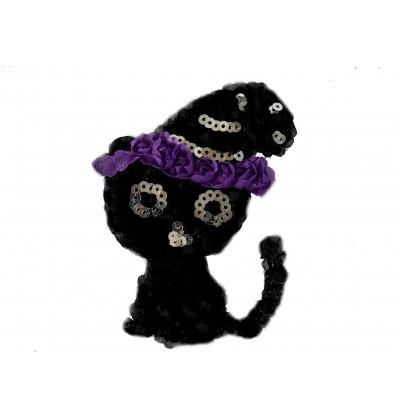 "4.5"" Halloween Kitty Shaped Shabby Flower"