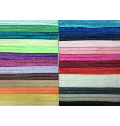 "Grab Bag of Solid Color 5/8"" Fold Over Elastic"