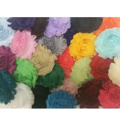 "Grab Bag of 2.5"" Solid Colored Shabby Chiffon Flowers"
