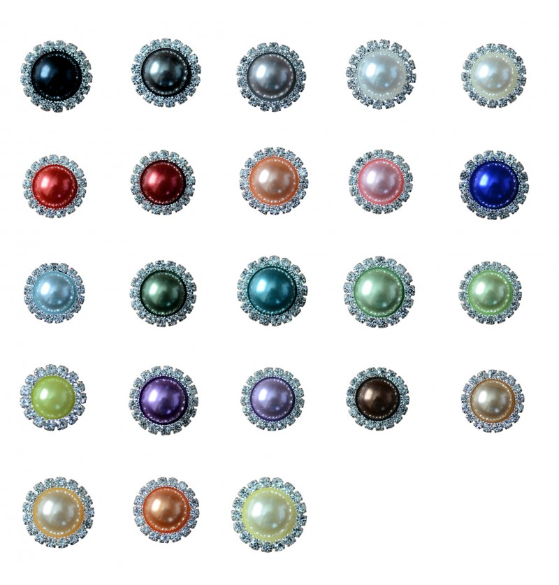 "0.75"" Pearl Rhinestone Button"