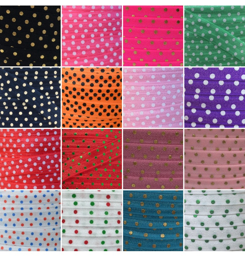 "Polka Dot 5/8"" Fold Over..."