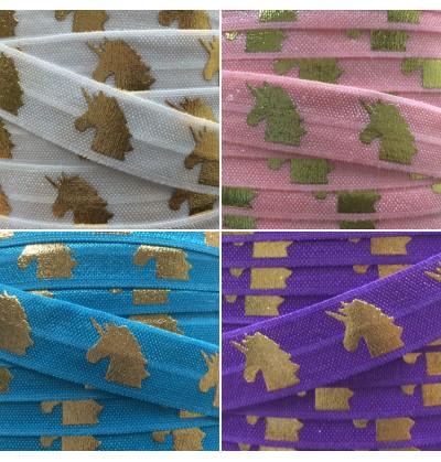 """Foil Unicorns 5/8"""" Fold Over Elastic"""