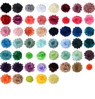 "2.5"" Colored Shabby Chiffon Flowers"