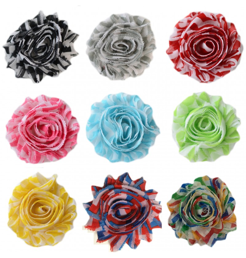 "2.5"" Chevron Shabby Flowers"