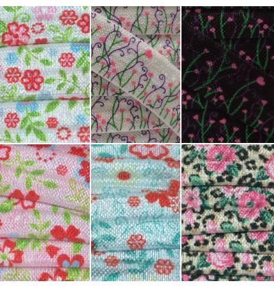 "Floral Prints 5/8"" Fold Over Elastic"