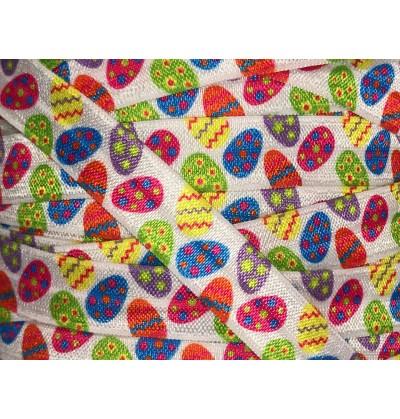 """Easter Egg Pattern 5/8"""" Fold Over Elastic"""