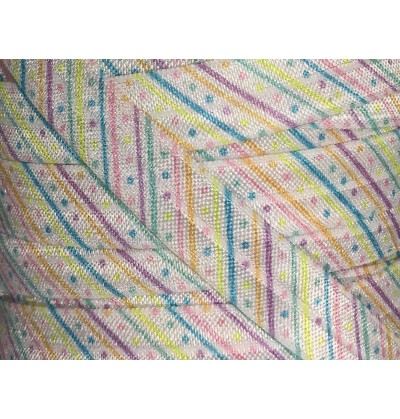 """Easter Stripes and Dots 5/8"""" Fold Over Elastic"""