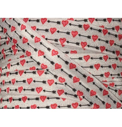 """Hearts and Arrows 5/8"""" Fold Over Elastic"""