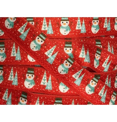 "Red w/ Snowmen 5/8"" Fold Over Elastic"