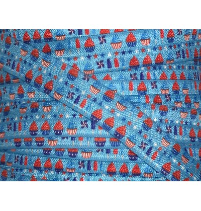 "Patriotic Treats 5/8"" Fold Over Elastic"