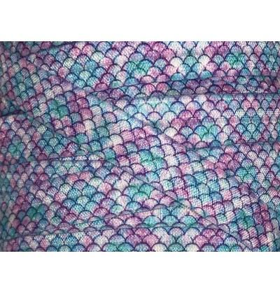 "Purple Mermaid Scales 5/8"" Fold Over Elastic"