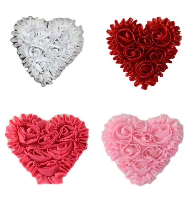 "3"" Heart Shaped Shabby Flowers"