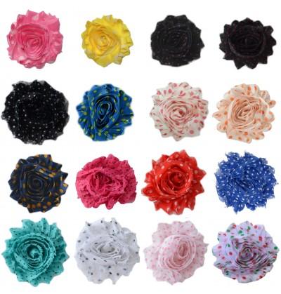 """2.5"""" Polka Dot Shabby Flowers"""
