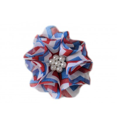 """Red White and Blue 2.5"""" Chiffon Pearl Flower"""