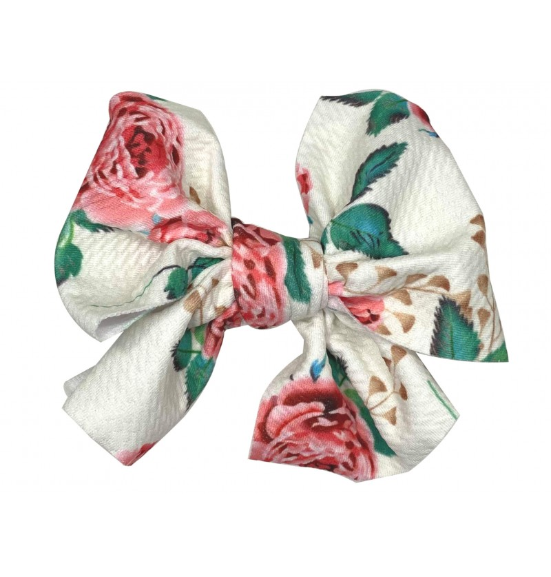 """4.5"""" White Floral Messy Bow"""