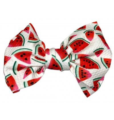 """4.5"""" White with Watermelons Messy Bow"""