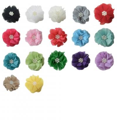 "2.5"" Chiffon Pearl Flower Grab Bag - 10 pieces"