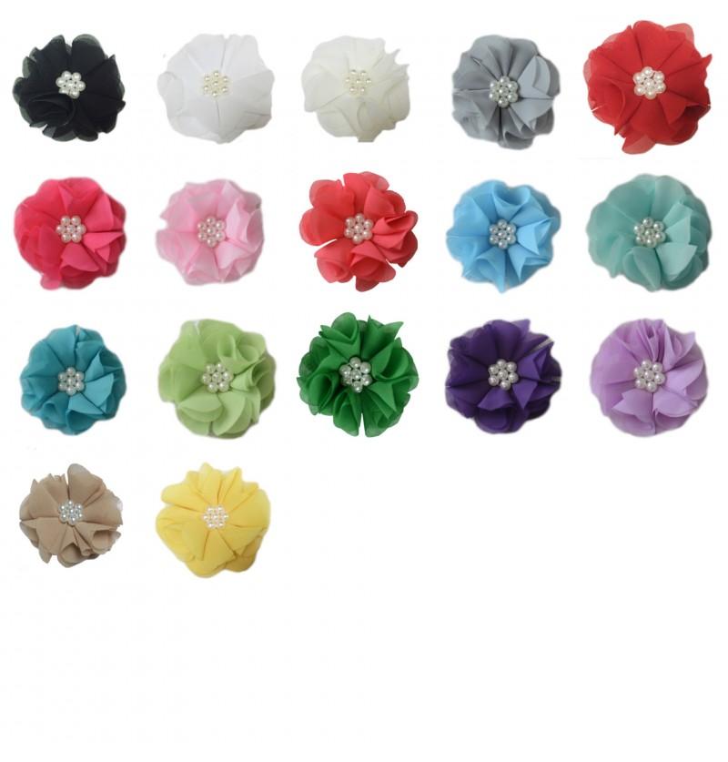"2.5"" Chiffon Pearl Flower..."