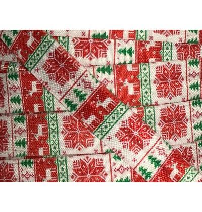 """Christmas Print 5/8"""" Fold Over Elastic"""