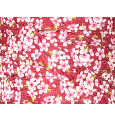 "Scarlett w/ Cherry Blossoms 5/8"" Fold Over Elastic"