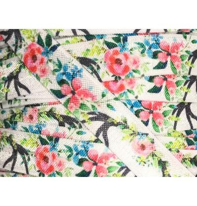 """Japanese Garden 5/8"""" Fold Over Elastic"""