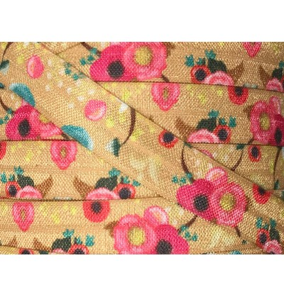 """Gold w/ Peonies 5/8"""" Fold Over Elastic"""