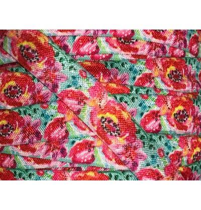 "Aqua w/ Hot Pink Peonies 5/8"" Fold Over Elastic"