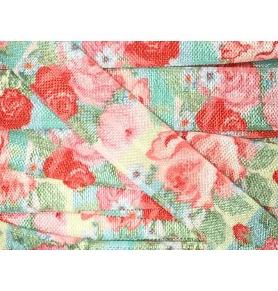 "Aqua w/ Pink Roses 5/8"" Fold Over Elastic"