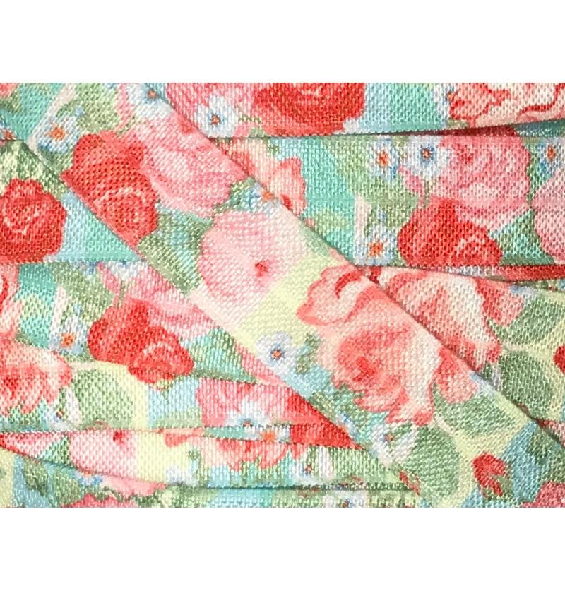 """Aqua w/ Pink Roses 5/8""""..."""