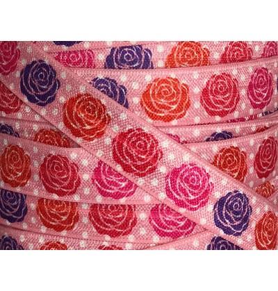 "Pink Polka Dots w/ Roses 5/8"" Fold Over Elastic"