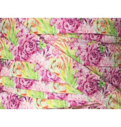 "White w/ Purple Roses 5/8"" Fold Over Elastic"