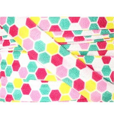 "Hexagons Pink / Yellow / Turquoise 5/8"" Fold Over Elastic"
