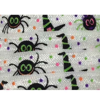 "Halloween Spiders 5/8"" Fold Over Elastic"
