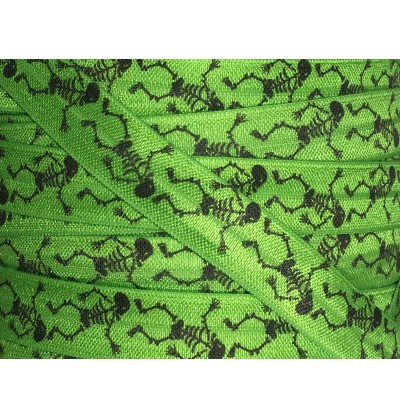 "Lime Green w/ Skeletons 5/8"" Fold Over Elastic"