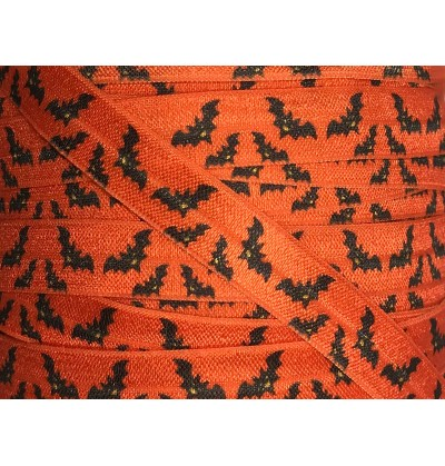 "Orange w/ Black Bats 5/8"" Fold Over Elastic"