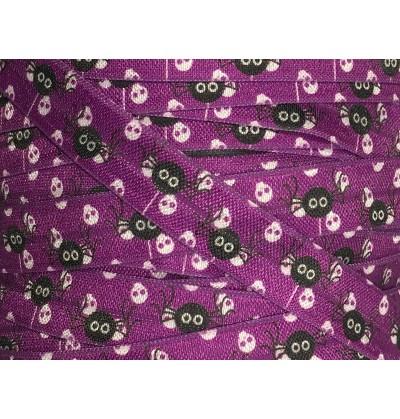 "Purple w/ Spiders 5/8"" Fold Over Elastic"