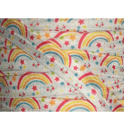 "White w/ Rainbows 5/8"" Fold Over Elastic"