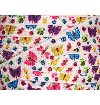 """Butterflies 5/8"""" Fold Over Elastic"""