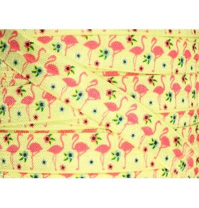 """Flamingos 5/8"""" Fold Over Elastic"""