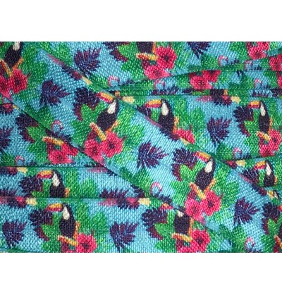 """Toucans 5/8"""" Fold Over Elastic"""
