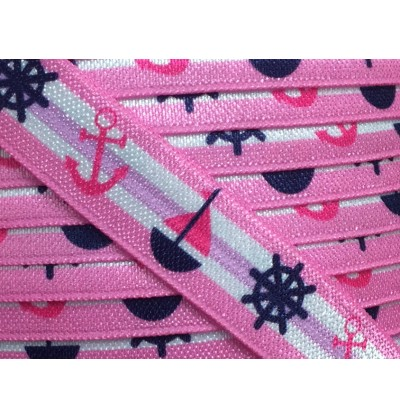 "Pink w/ Sailboats 5/8"" Fold Over Elastic"