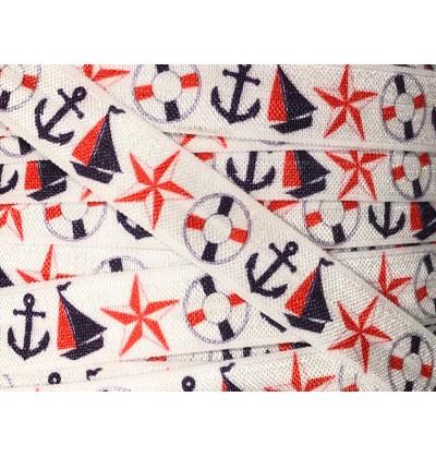 "White Nautical 5/8"" Fold Over Elastic"