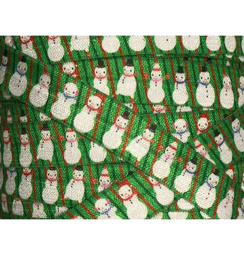 "Green w/ Snowmen 5/8"" Fold..."