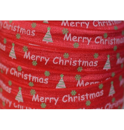 """Red w/ Merry Christmas 5/8"""" Fold Over Elastic"""
