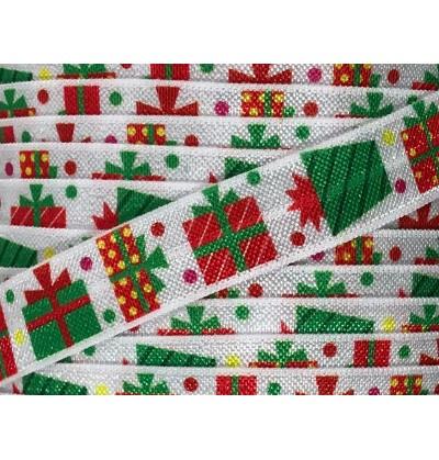"White w/ Christmas Presents 5/8"" Fold Over Elastic"