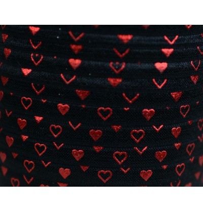 "Black w/ Red Foil Hearts 5/8"" Fold Over Elastic"