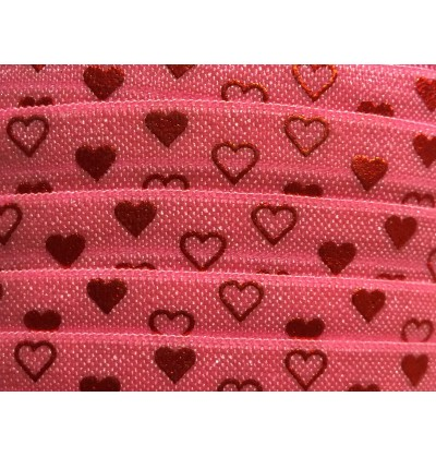 """Pink w/ Red Foil Hearts 5/8"""" Fold Over Elastic"""