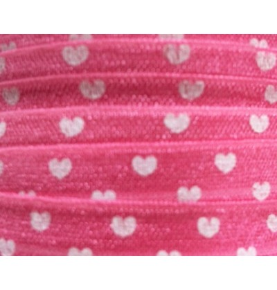 "Pink w/ White Hearts 5/8"" Fold Over Elastic"