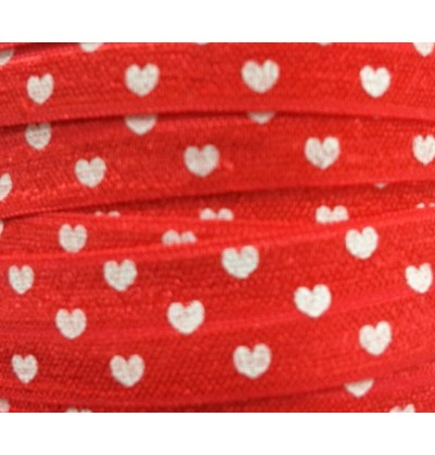 """Red w/ White Hearts 5/8"""" Fold Over Elastic"""