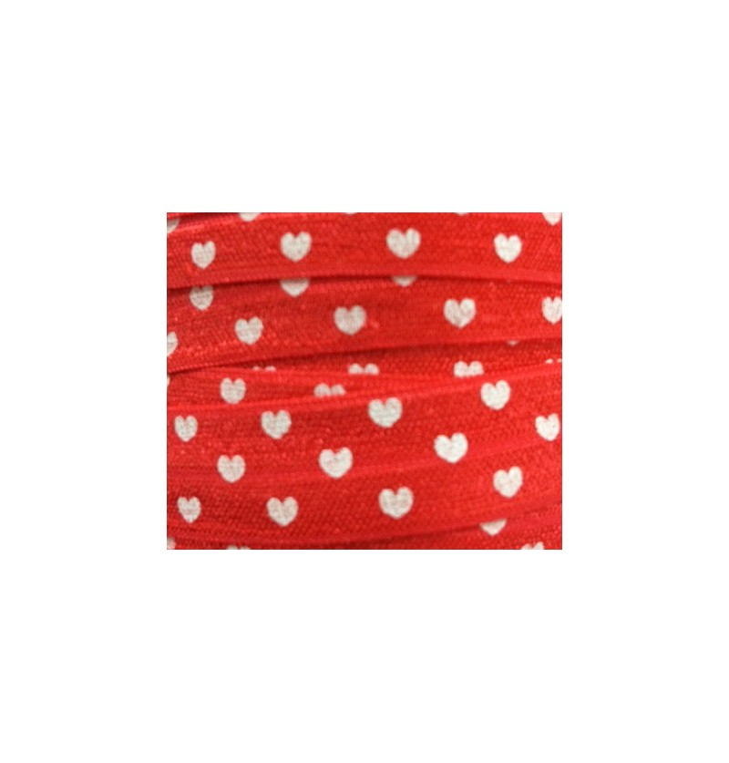 "Red w/ White Hearts 5/8""..."